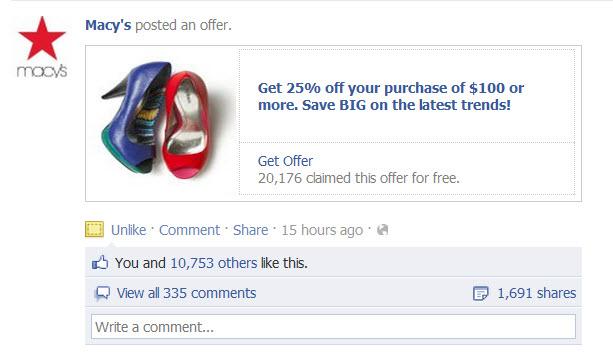Oferta de Facebook de Macys