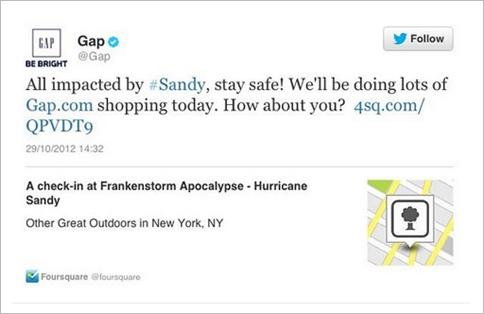 Tweet de GAP-huracán Sandy