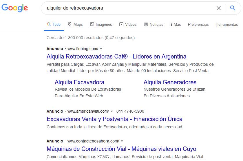 ejemplos de landings page en Google Ads