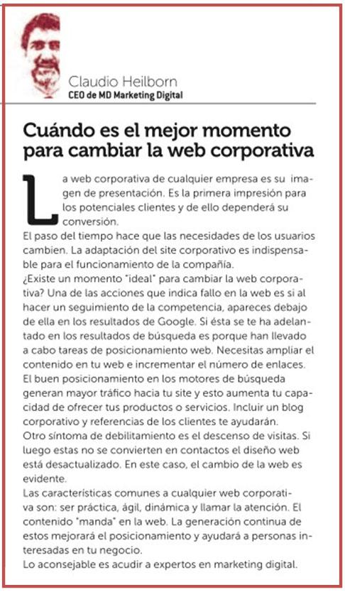 MD Blog Cuando es el mejor momento para cambiar la web corporativa - Revista Control Madrid, Octubre 2014 Prensa  estrategia blog marketing digital - Marketing Online
